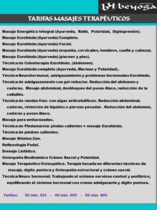 Tarifas masajes terapeuticos en barcelona